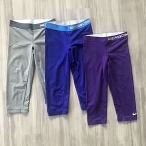 Women's Nike Pro 3/4 Leggings - 3 PAIRS